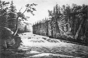 7. Source of the view in fig. 5 — Wall's painting, Rapids Above Hadley's Falls, as engraved in the Hudson River Port Folio, 1823.