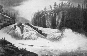 8. Source of the view in fig. 6 — Wall's painting, Hadley's Falls, as engraved in the Hudson River Port Folio, 1823.