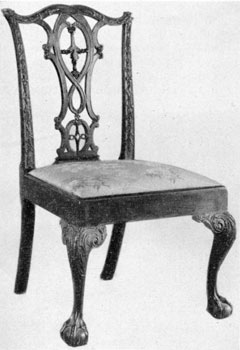 8. Philadelphia Chippendale side chairs were of endless variety. The three principal types of backs were the French, the Gothic, and the Strap-scrolled (developed from the Queen Anne) back. Cresting rails, uprights, seat rails, knee carvings and occasionally the feet might have individual treatment as well as the splats. Students should try to see how many differentiating details they can find; they will be surprised at the variety.