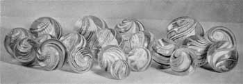 A Group of Antique Glass Marbles: Some have swirled centers. All are presumably of European make and are average quality.