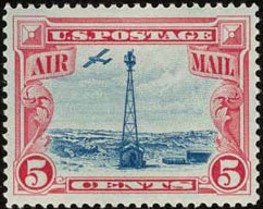 Scott C11 - The 5¢ Beacon Air Mail Stamp, First Day: July 25, 1928 - 106,887,675 issued