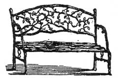A Naturalistic Bench in Iron: This wood-cut illustration from a catalogue of Chase Brothers, Boston, published in the 1850's shows a design inspired from garden furniture made of bent branches selected from especially knarled small branches.
