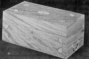 A Box-Type Portable Desk: This one follows somewhat one of Shearer's designs. Made of mahogany with decorative inlay, the lid folds back to form the sloping writing top when opened.