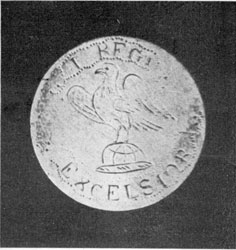 """Button with Eagle, and motto """"Excelsior,"""" and additional markings of the First Regiment."""