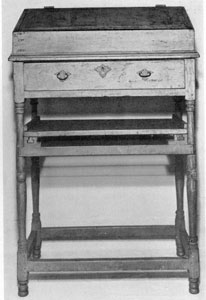Illustration III: Early American Standing Desk: Made of pine before 1750, it was first used by Gyles Merrill, class of 1752, Harvard. Later by James Merrill and other descendants.