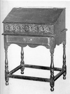 Illustration IV: Early Desk on Frame: This piece is of oak with lid hinged at top. The frame is similar to the early tavern table in construction