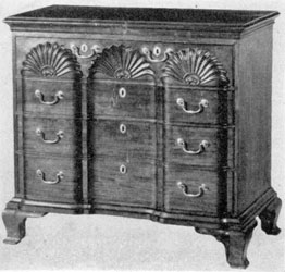 An Elaborate Block-Front Piece: Made of mahogany by John Townsend of Newport, Rhode Island in 1792. Carving, shaped drawer fronts, and molded bracket feet show that stylistically it is a survival of the Chippendale era.