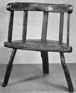 English Ancestor of the Windsor: This hand-hewn oak chair was made circa 1650, about a half century before the design of the Windsor became established.