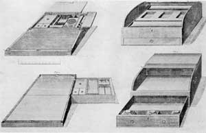 Four Portable Desk Designs by Thomas Shearer: This is Plate 17 of the 1793 edition of The Cabinet-Makers London Book of Prices. It shows four such desks, two oblong hinged boxes and two with sliding tambour fronts or tops that when opened gave access to time interior. Figures 1 and 2 are at the top of this plate and figures 3 and 4 at the bottom.