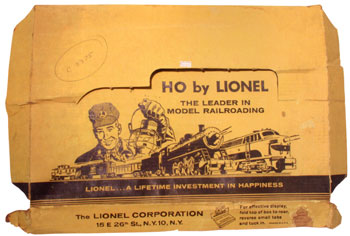 Lionel's box art for its HO scale sets from 1959.