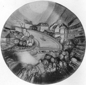 Illustration II: A Mountain Village: Here coloring of the houses located on either side of a river big enough to have ships sailing on it changes as the light plays on the paperweight.