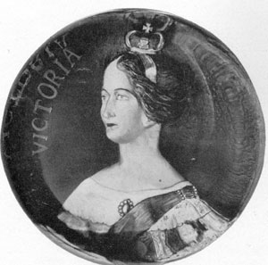 Illustration I: Queen Victoria: In this pinchbeck paperweight the Queen's likeness as a young woman is done in natural colors and in high relief.