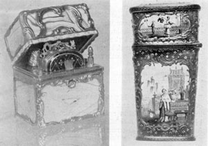 """Illustration V: Enamelled Vanity Case, Staffordshire, 18th Century. Agate Vanity Case, Gold mounted, Border inscription in French """"Nothing is Too Good for the Loved One."""" English, c. 1750."""