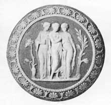 3. The design source of this tri-colored Wedgwood medallion, The Three Graces, was a carnelian.