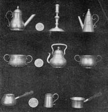 5. Miniature or toy silver pieces copied by Augustine Courtauld from full-sized models. He made numerous such miniatures. Note the old-style, lantern-shaped teapot (upper right) that harks back to the 17th century.