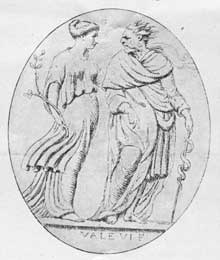 6. Raspe's illustration of the carnelian from which Wedgwood derived his Hygeia and AEsculapius.