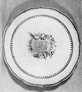 Large Plate Decorated with Cervantes Coat-of-Arms: Part of a large table service decorated in Canton 1760-1780 for Ignacio Leonee Gomez de Cervantes, Marquis de Salinas del Rio Pizuerga of Mexico City. When completed, this service was shipped via Manila to Acapulco and overland by pack mule train to Mexico City.