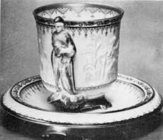 "7. Liberty cup in hard paste (""true"") porcelain, a show piece made by the Union Porcelain Works, Brooklyn, N. Y., first American makers of true hard-paste porcelain."
