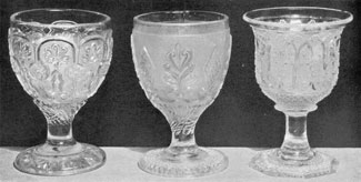 More Uncommon Goblet Designs: A slug of metallic lead can be faintly seen in the foot of goblet G which also stands unevenly. The pontil could not be ground evenly because of this imperfection. Goblet I has many characteristics of Sandwich work but the form of the stem is sufficiently different to make absolute attribution unwise for the present.