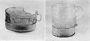 Illustration IV, IV-A: Mugs Made in Like Manner: Illustration IV, a cup or mug made and signed by ENNION. Illustration IV-A, American three-mold mug made 1820-1850.