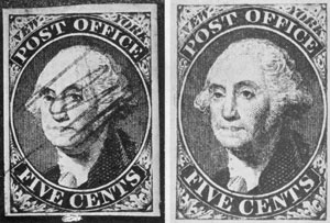 The New York Postmaster's Stamp of 1845: At the left is illustrated a specimen with the handwritten initials ACM in red ink which Alonzo Castle Monson had his aides write on each stamp before it was sold to discourage counterfeiting. At the right an example of the same stamp initialed.