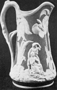 "1. Parian pitcher, ""Paul and Virginia"" design, made by U. S. Pottery, Bennington, T't., 1852-58."