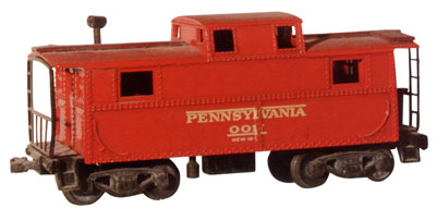 Lionel Offered this same Pennsylvania railroad Class N-5-style OO scale caboose as an O Gauge model in 1946.