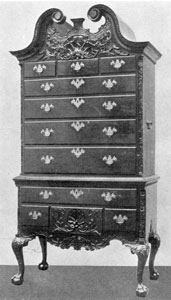 A Philadelphia-Type Highboy: Made of mahogany, these pieces of furniture were elaborately decorated with rich carving. This piece is not attributed to a particular craftsman who worked in Philadelphia at the height of the American Chippendale period. It was originally in the George S. Palmer Collection.