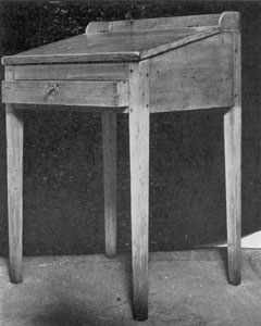 Illustration V: Schoolmaster's Desk of Pine: This may have been made as late as 1840. Frame and desk are no longer separate. The legs are clumsy interpretations of the Hepplewhite style.
