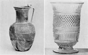 Illustration III, III-A: The Mold-Blown Technique: Illustration III is a jug signed by the maker ENNION, 1st Century Syrian, who apparently moved his shop to Italy. Illustration III-A, American three-mold celery vase, circa 1820-1850.