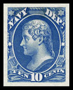 "The Navy Department Stamp Design of 1873, Plates of 100 stamps - Perforated 12 - Issued July 3, 1873, Printed by the Continental Bank Note Company on ""thin, hard"" whitish paper - Scott O40 - 10¢ Jefferson"
