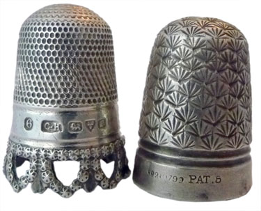 "Charles Horner Left: Hallmarked with 6 for size, maker's mark ""CH"", assay marks for Chester 1904. The pierced rim is made up of stars, which gives a great sparkling effect Right: An early Dorcas thimble which is steel-cored sterling silver. This has the pre-Dorcas marking of ""Pat."" for patent and the size #5. The design is a registered one in 1893 known as 'Shell.'"