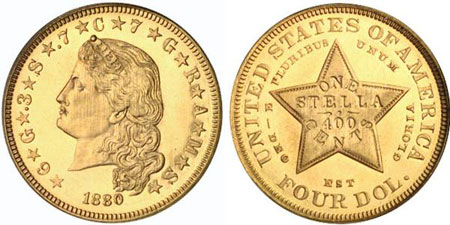 This four dollar coin is one of about 20 believed to exist. Photo courtesy of Bowers and Merena via uspatterns.com.