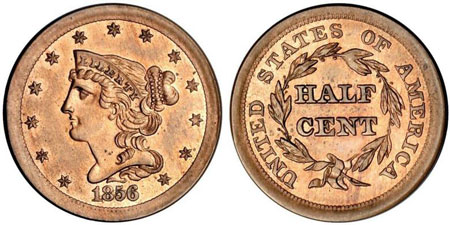 One of only 2 pattern half cents. It was struck from the regular dies in two different copper-nickel alloys either 88% copper and 12% nickel or 90% copper and 10% nickel. Photo courtesy of American Numismatic Rarities via uspatterns.com.