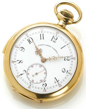 Patek Philippe. An 18k gold open face quarter repeating pocket watch retailed by Bailey, Banks & Biddle Co. 1930s.
