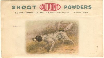 Reverse of 1917 DuPont Powders illustrated advertising cover with an English Setter.