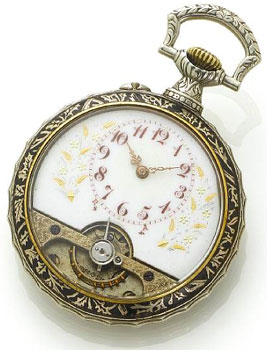 Swiss. A late 19th century silver black enamel open face 8 day pocket watch.