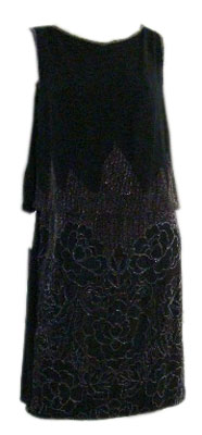 1920s Floral Beaded Silk Dress