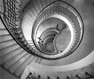 Staircase designed by architects Herman Gesellius, Armas Lindgren, and Eliel Saarinen in Helsinki, 1899-1901
