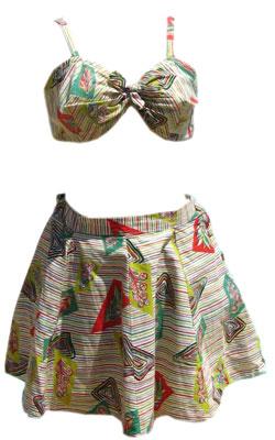 Vintage 40s Novelty Print 3 Piece Bikini Swimsuit & Skirt