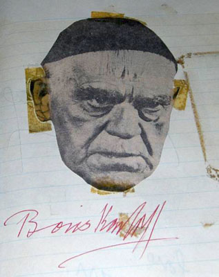 Detail of Boris Karloff's autograph from a scrapbook.