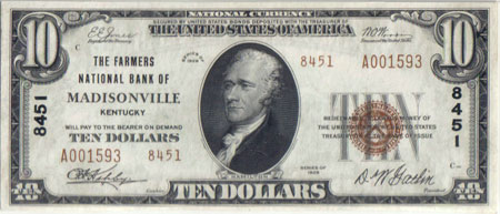 1929 Type 2 series Madisonville $10 note, Gem Uncirculated