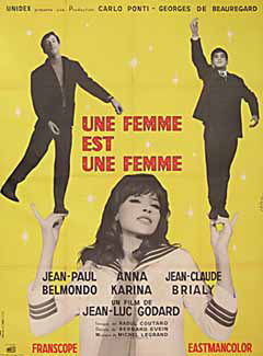 A Woman is a Woman (Une femme est une femme) by Godard 1964 French poster design. Image source: www.posteritati.com