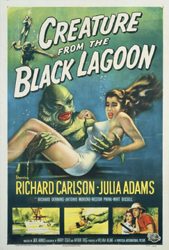 Creature from the Black Lagoon by Arnold (poster art by Reynold Brown) 1954 U.S. poster design. Image source: Margaret Herrick Library Catalog