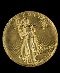A gold Double Eagle pattern coin from 1907, just one of 1.6-million objects in the Smithsonian's coin-and-currency collection.
