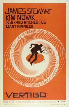 Vertigo by Hitchcock (poster art by Saul Bass) 1958 U.S. poster design. Image source: Margaret Herrick Library Catalog