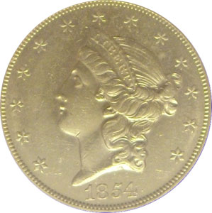 1854-S from SS Republic. 1854-S Gold $20 Double Eagle Type 1 No Motto - S.S. Republic from The Arlington Collection of Shipwreck Treasure