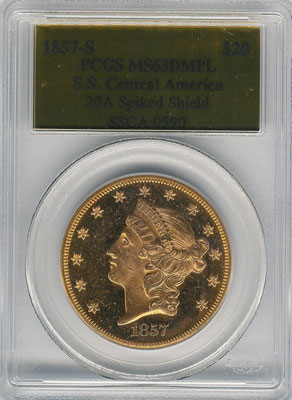 1857-S from SS Central America(front). 1857-S Gold $20 Double Eagle Type 1 No Motto - S.S. Central America from The Arlington Collection of Shipwreck Treasure