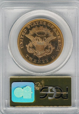 1857-S from SS Central America(reverse). 1857-S Gold $20 Double Eagle Type 1 No Motto - S.S. Central America from The Arlington Collection of Shipwreck Treasure