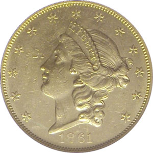 1861-O from SS Republic(front). 1861-O Gold $20 Double Eagle Type 1 No Motto - S.S. Republic from The Arlington Collection of Shipwreck Treasure